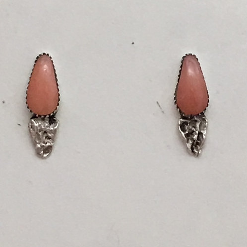 Zuni Sterling Silver Pink Coral Post Earrings