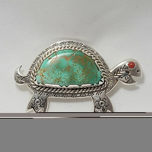 Navajo Sterling Silver Royston Turquoise Turtle Pin Pendant