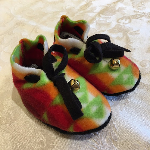 Navajo Handmade Lime Orange Pendleton Baby Booties Socks