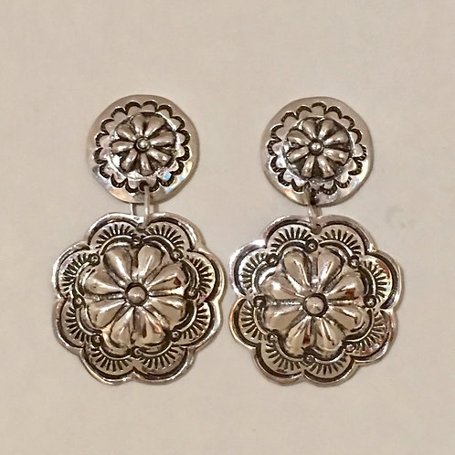 Navajo Sterling Silver Repousse Stamp Post Earrings