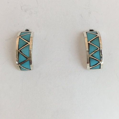 Turquoise Inlaid Hoop Earrings