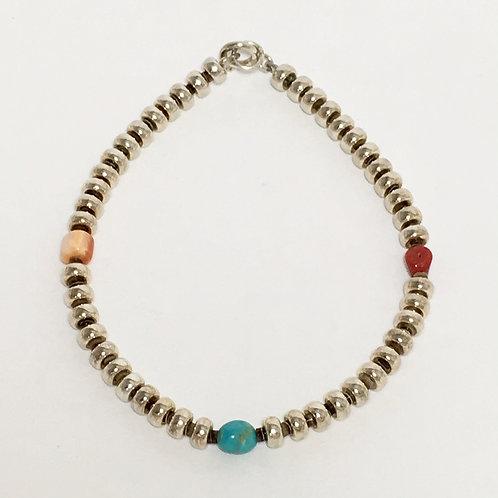 Navajo Baby Olive Heishi Coral Beaded Bracelet