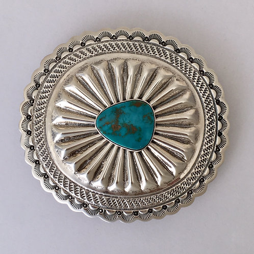 Navajo Sterling Silver Concho Blue Gem Turquoise Buckle