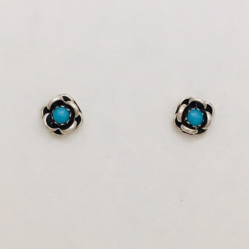 Zuni Sterling Silver Rose Turquoise Post Earrings