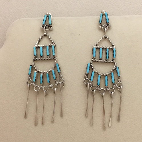 Zuni Sterling Sliver Turquoise Chandelier Post Earrings