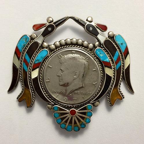 Zuni Sterling Silver Vintage JFK 50 cent Coin Pin Brooch