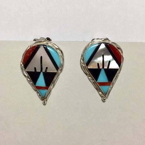 Zuni Inlaid Tear Clip Earrings