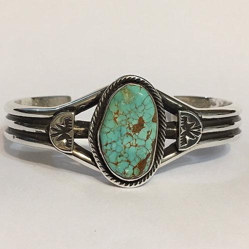 Navajo Sterling Silver Spiderweb Turquoise Bracelet