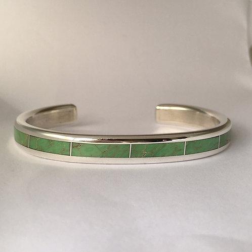 Zuni Sterling Silver Gaspeite Cuff Bracelet