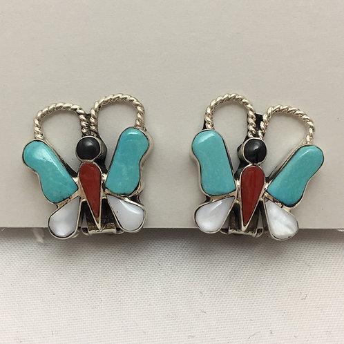 Zuni Inlaid Butterfly Clip Earrings