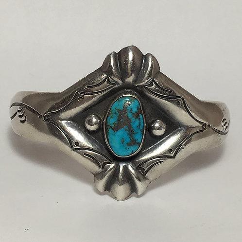 Navajo Sterling Silver Sandcast Morenci Vintage Cuff Bracelet