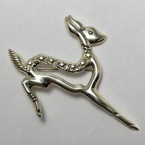 Navajo Sterling Silver Sandcast Deer Pin
