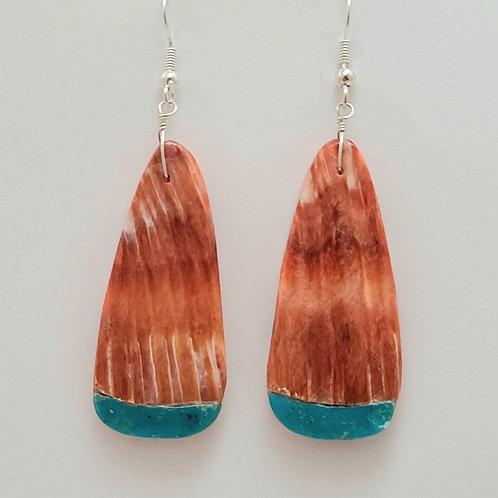 Navajo Spiny Oyster Shell Tear Drop Earrings Louise Pete