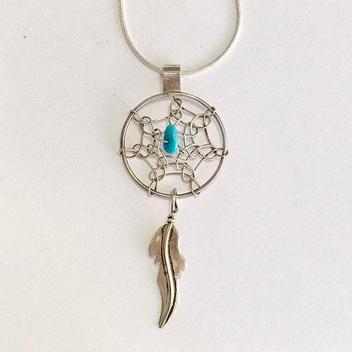 Navajo Sterling Silver Dream Catcher Pendant