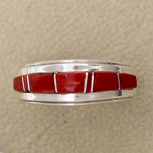 Navajo Sterling Silver Coral Stone Ring