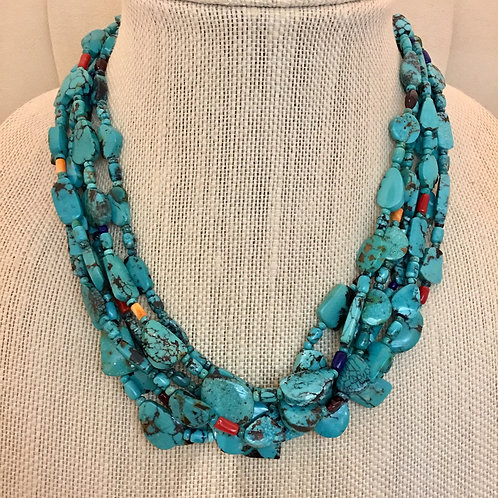 Navajo Sterling Silver 6 Strand Turquoise Bead Necklace