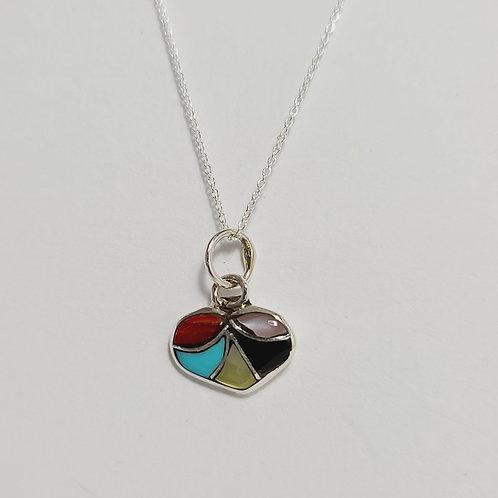 Zuni Sterling Silver Heart Inlay Pendant