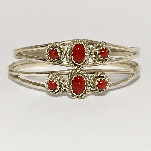 Navajo Sterling Silver Coral Baby Cuff Bracelet
