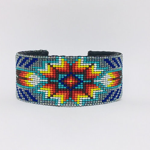 Navajo Beaded Feather Cuff Turquoise Bracelet