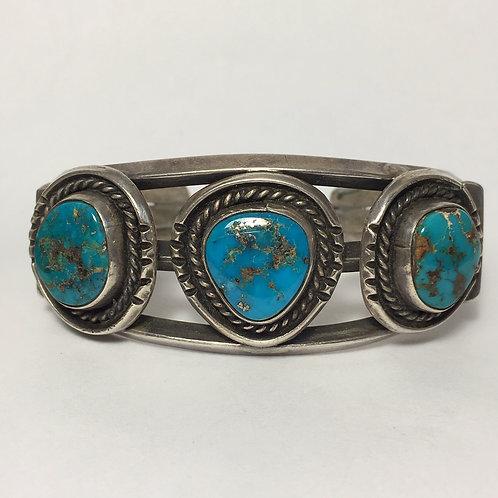 Navajo Sterling Silver Morenci Turquoise Vintage Bracelet