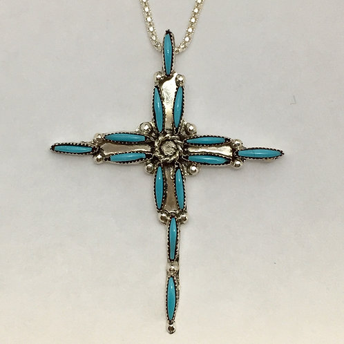 Zuni Sterling Silver Turquoise Cross Pendant