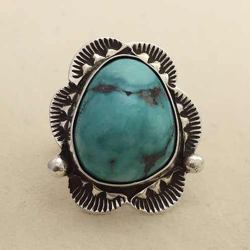 Navajo Sterling Silver Fox Turquoise Ring