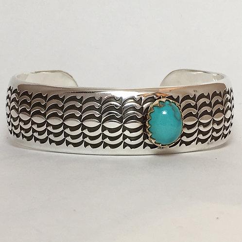 Navajo Sterling Silver Blue Water Cuff Bracelet