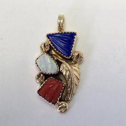 Zuni 14k Gold Lapis Opal Coral Pendant