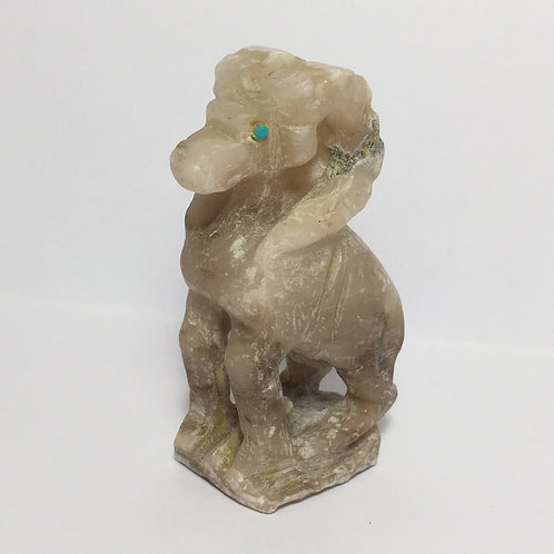 Zuni Grey Alabaster Carved Ram Fetish Jerrold Lahaleon