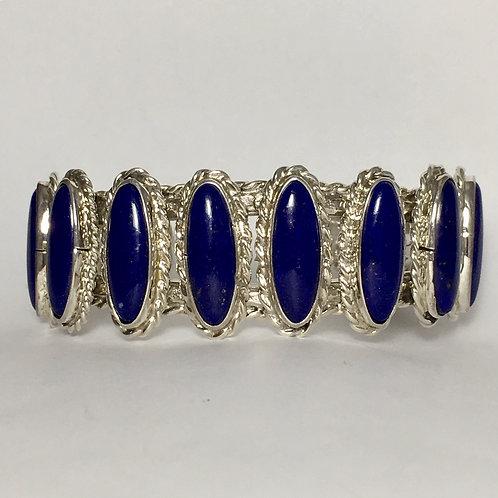 Zuni Sterling Silver Lapis Stone Cuff Bracelet