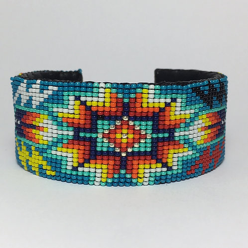 Navajo Native Beaded Blue Wide Cuff Bracelet