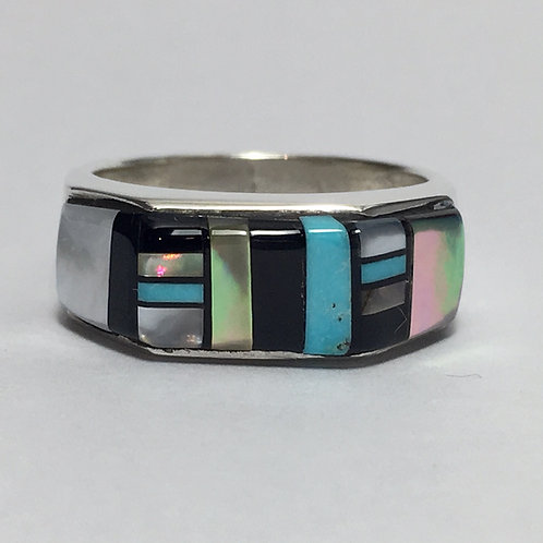 Navajo Sterling Silver Abalone Jet Turquoise Ring
