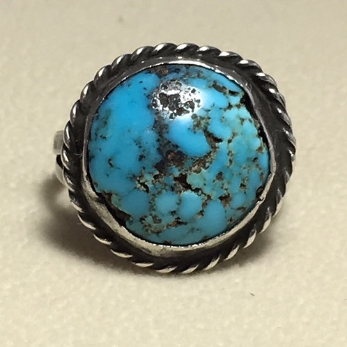 Navajo Sterling Silver Spiderweb Turquoise Vintage Ring