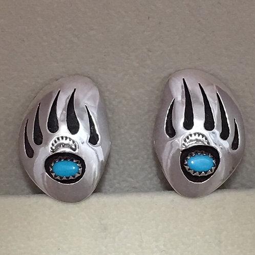 Navajo Sterling Silver Bear Pay Clip-On Earrings