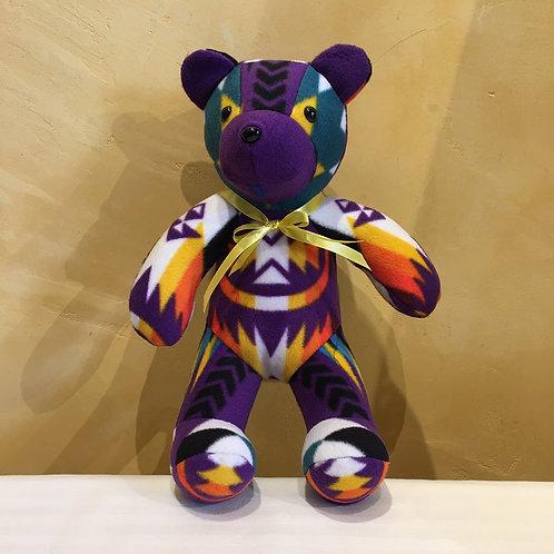 Navajo Handmade Purple Pendleton Teddy Bear Yllw Collar
