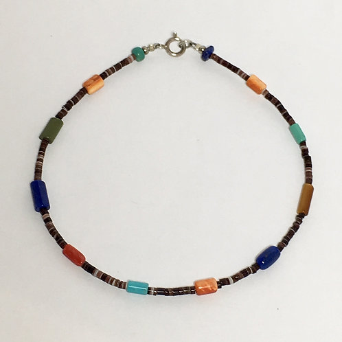 Navajo Pen Shell Heishi Turquoise Beaded Bracelet
