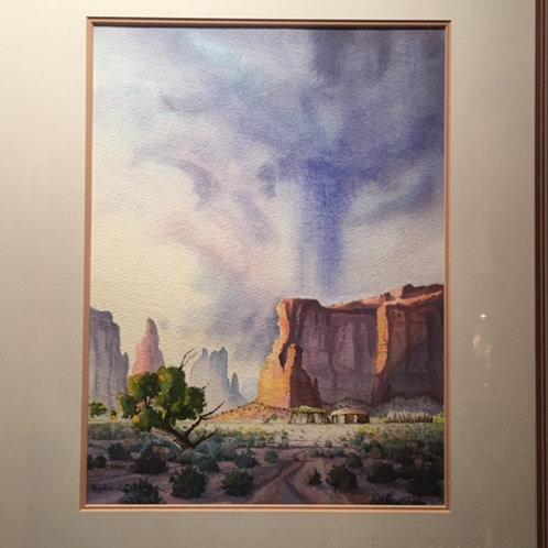 Mesa Landscape Watercolor by Robert Draper