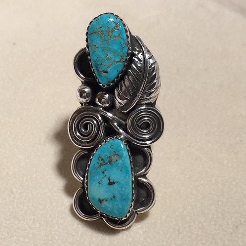 Navajo Sterling Silver Kingman Turquoise Ring