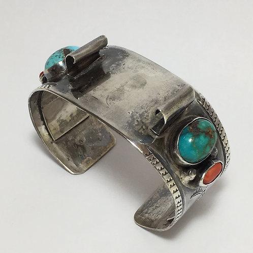 Navajo Sterling Turquoise Coral Vintage Watch Band Bracelet
