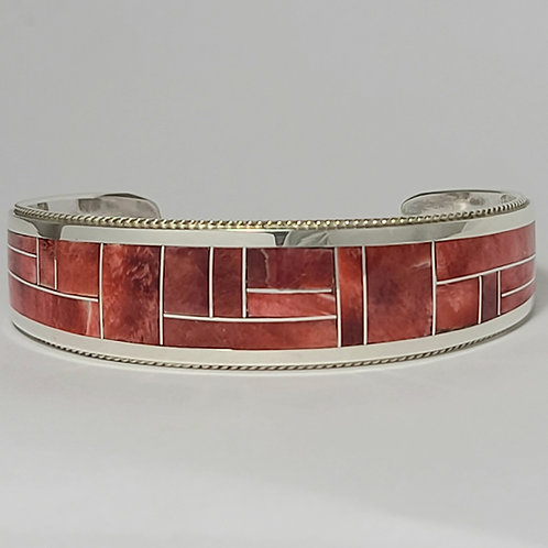 Zuni Sterling Silver Spiny Oyster Shell Channel Inlay Bracelet