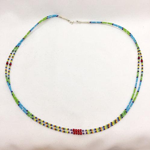 "Navajo Handmade 2 Strand Glass Bead Necklace 22"""