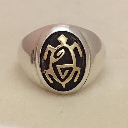 Hopi Sterling Silver 14k Gold Turtle Ring