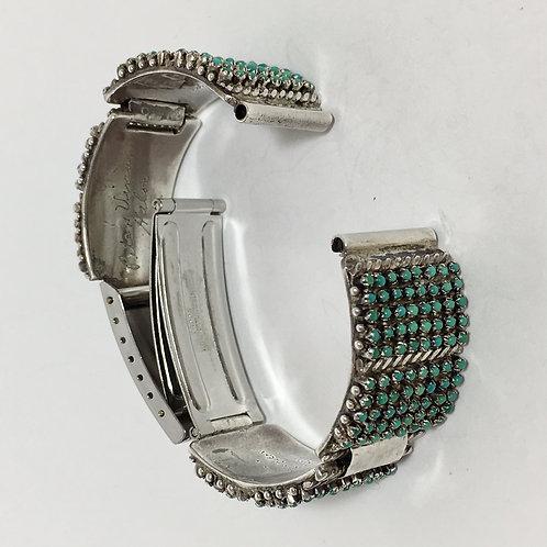 Zuni Sterling Turquoise Vintage Watch Band Link Bracelet