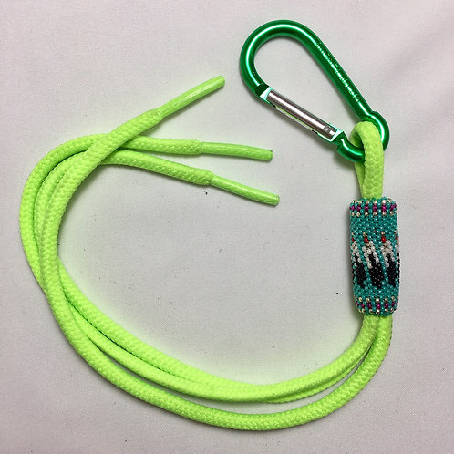 Navajo Hopi Handmade Beaded Green Nylon Key Chain