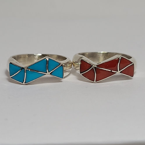 Zuni Turquoise/Coral Inlaid Zig-Zag Rings
