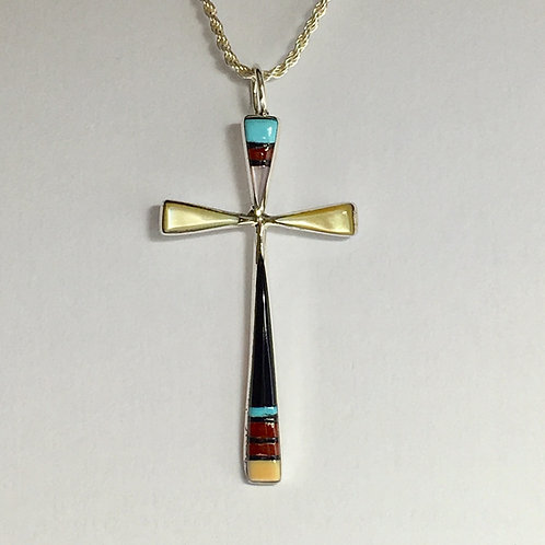 Zuni Sterling Silver Inlay Cross Pendant