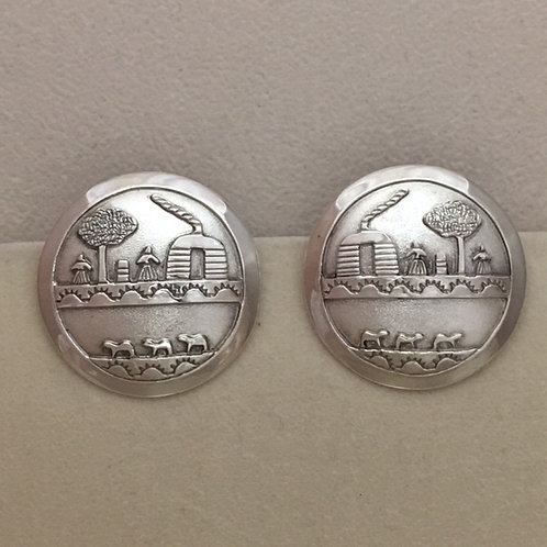 Navajo Sterling Silver Storytell Post Earrings