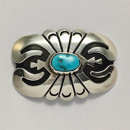 Navajo Sterling Silver Turquoise Pin Brooch