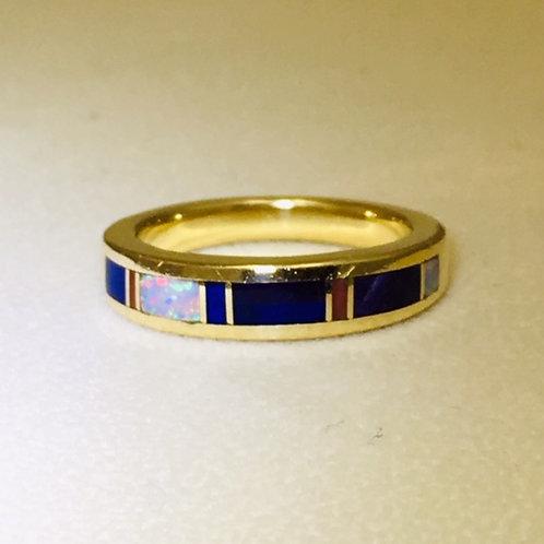 Navajo 14k Gold Lapis Coral Opal Ring
