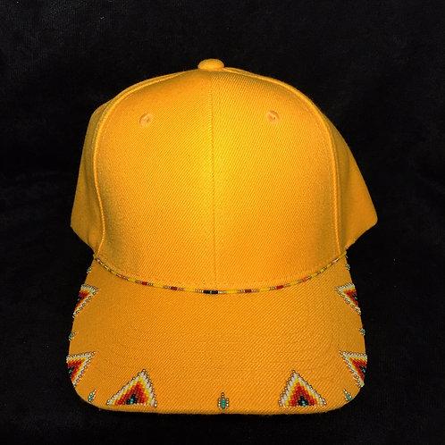 Navajo/Hopi Beaded Yellow Cap Velcro